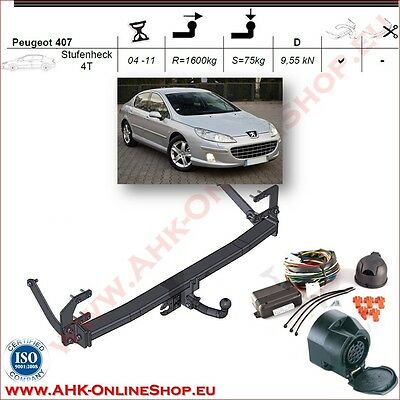 TOWBAR with Electrics 13pin Peugeot 407 Saloon 2004-2011 Swan Neck