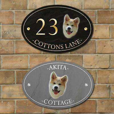 Akita Dog House Number Plaque Personalised Stone effect oval house Metal Sign