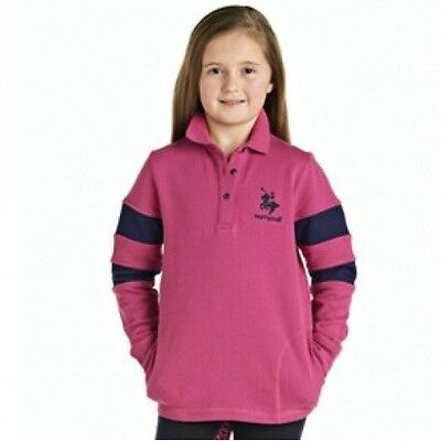Harry Hall - Childs Epsom Top - Long Sleeve Horse Riding Top - Dark Pink/Navy