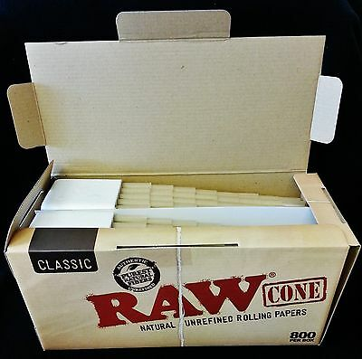 Raw Classic 800 Count Prerolled Bulk Unrefined Rolling Paper Cones Free Shipping