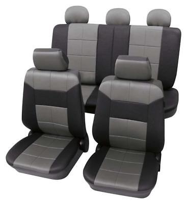 Grey & Black Leather Look Seat Cover set - For Vauxhall Corsa C 2000-2007