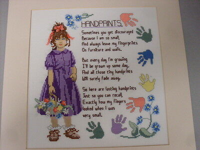 Completed Cross Stitch Handprints Poem