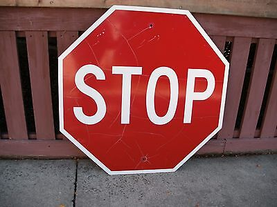 """Vintage Aluminum STOP Sign 30"""" Street Road Octagon RED White Reflective"""