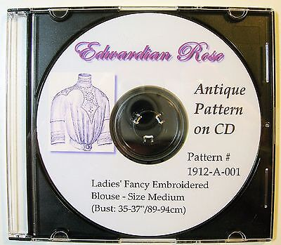 Antique Pattern on CD~MED Sz~ Elegant 1912 Edwardian Blouse w Embroidery & Tucks