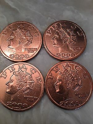 "Lot Of Four (4) 1oz Copper 2009 Liberty Dollars ""Give Peace A Chance"""