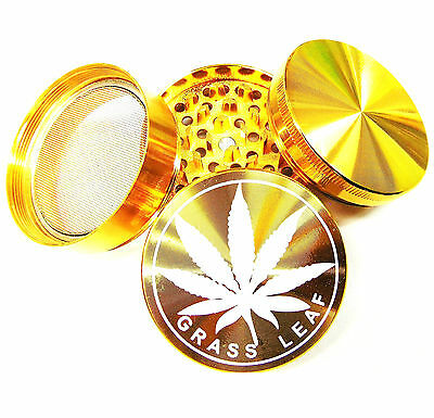 Metal Gold Bar Stamp 50Mm Herbs Grinder 4 Parts With Diamond Teeth In Gold
