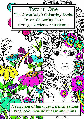 Two books in One A5 Zen Henna and Cottage 20 pgs Adult colouring art therapy