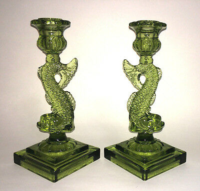 Vtg Green Dolphin Fish Candle Holders Sticks EAPG Imperial Glass Co Art Deco USA