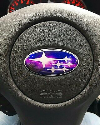 08-14 Impreza WRX Domed GALAXY Print Steering Wheel Emblem Badge Overlays nebula