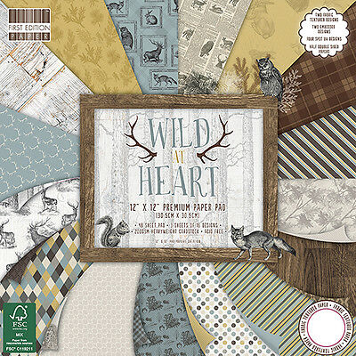 Lot 16 Feuille Papier Cardstock Foret Animaux Nature Sauvage Scrapbooking Scrap