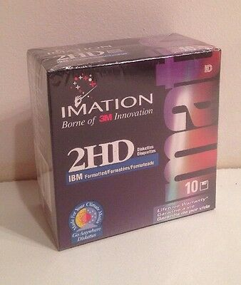 """10 3M Imation Diskettes 2HD IBM Formatted 1.44 MB DS HD 3.5"""" Floppy Disks"""