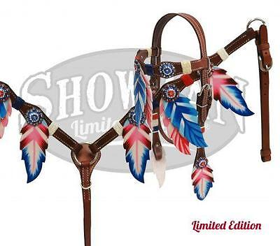 Showman RED, WHITE & BLUE Feather Headstall and Breast Collar Set! HORSE TACK!