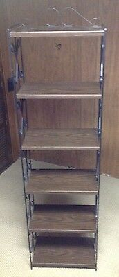 Vintage 6 Shelf Metal Mid Century Book Plant Stand, Scrolled Trim Shelves