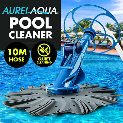 AURELAQUA Swimming Pool Cleaner Floor Climb Wall Automatic Vacuum 10M Hose Blue