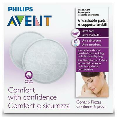 * Philips Avent 6 Washable Reusable Breast Pads Extra Soft Including Laundry Bag