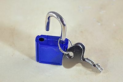 (Lot of 7) Mini  Padlock Tiny Box Locks With keys  Blue Color (NEW)