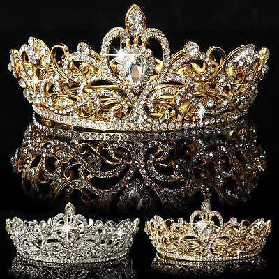 Crystal Rhinestone King Crown Tiara Wedding Bridal Diamante Headpiece Headband