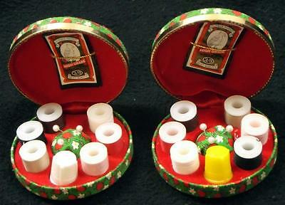 Pair of Flower Parrot Brand Sewing / Travel Kits - No Reserve