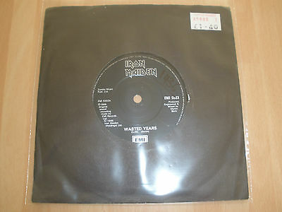 """Iron Maiden Uk 7"""" Vinyl Wasted Years / Reach Out Emi 5583 Nwobhm Ex """""""