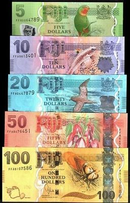 "SET ""FIJI 5 10 20 50 100 DOLLARS""2013 New""BIRD TURTLE""GEM UNC"" BANKNOTES""RAREST"""