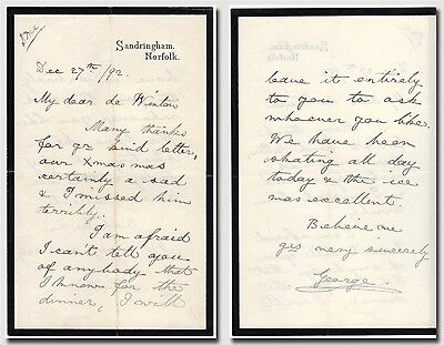 """George V., King – autographed letter signed """"…our Xmas was certainly a sad…"""""""