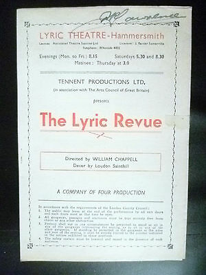 1951 Lyric Theatre Programme- THE LYRIC REVUE by W Chappell