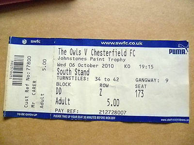 Ticket- Johnstone's Paint Trophy- THE OWLS v CHESTERFIELD, 6 October 2010