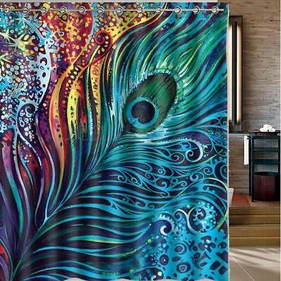 """Waterproof Polyester Bathroom Shower Curtain Peacock Feather 60""""x70"""" + 12 Hooks"""