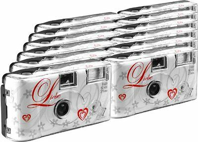 TopShot Love Disposable Cameras 27 Photos Flash 12-Pack White
