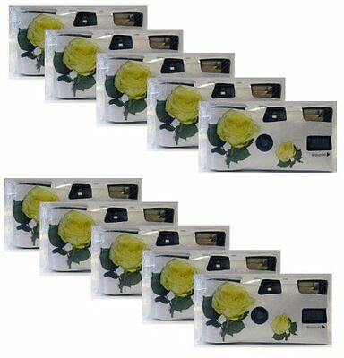 Single-Use Wedding Cameras with Flash / 27 Shots / 400 ASA / Pack of 10 Yellow
