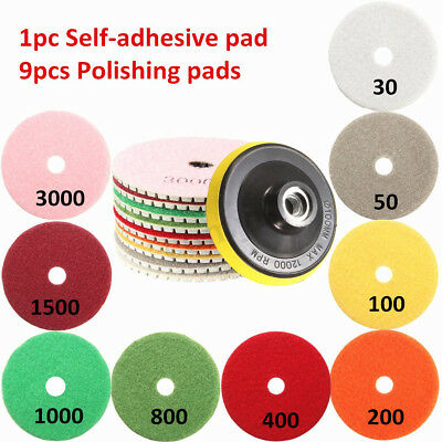 10Pcs Wet Dry 4'' Inch 100mm Diamond Polishing Pads For Granite Concrete Marble