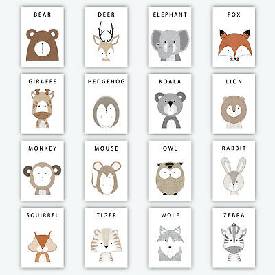 NEW Cute Modern FOREST ANIMAL - Nursery Baby Christening Decor A5 Art Print