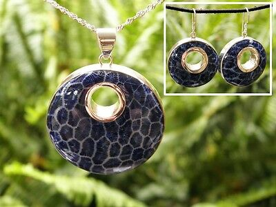 BALI Blue Coral Round Pendant & Earring set - 925 SOLID Silver chain (c139)