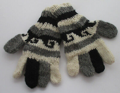 Wool Hand knitted winter gloves Mens Ladies,Teens Grey & Black Cosy Warm Nepal