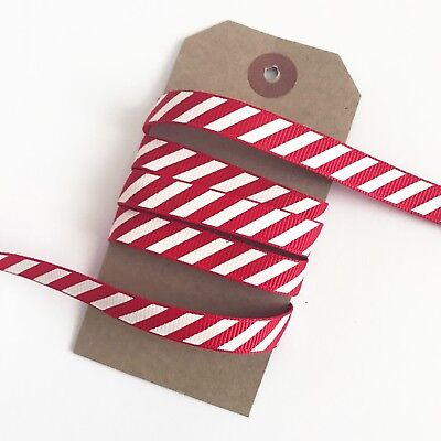 3M Red & White Stripe Candy Cane Grosgrain Ribbon 9mm Christmas Craft Wrapping