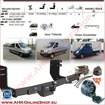 TOWBAR with Electrics 12N (7pin) MB Sprinter W906 / VW Crafter 30/35/50 2006-
