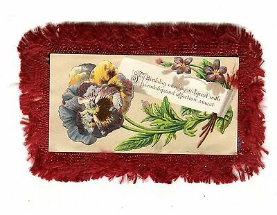 Vintage BIRTHDAY Greeting Card Fringed 2 sided flowers Pansy Lily