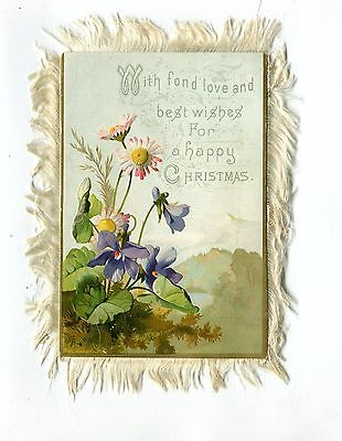 Vintage CHRISTMAS Greeting Card Fringed 2 sided FLOWERS