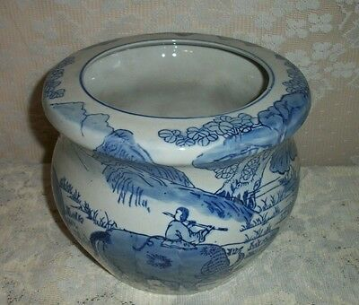 """Modern 7"""" 1/2 Blue And White Ceramic Planter With Oxen Chinese Farming Scene"""