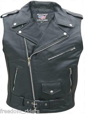 Mens Sleeveless Leather Motorcycle Jacket Vest Traditional Blacks Biker Allstate