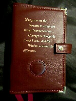 Genuine Leather AA Double Deluxe Alcoholics Anonymous Burgundy Book Cover Coin
