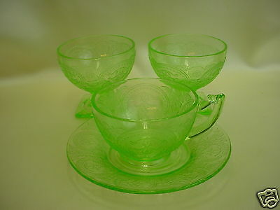 "Depression Glass Cup, Saucer and 2 Sherbets-Indiana Glass ""Horseshoe"" c:1930-33"
