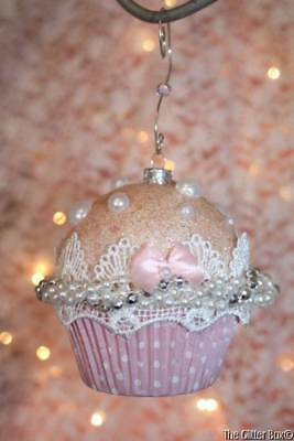 Christmas Ornaments Shabby Cottage Chic Pink Cupcake White Lace Handcrafted - A