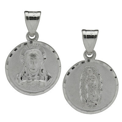 Sterling Silver 2 Face Sided Medal Sacred Heart of Jesus Guadalupe Pendant