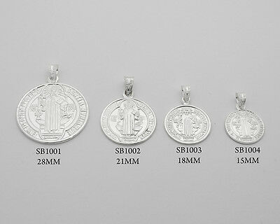Sterling Silver San Benito St Benedict Protection Medal Pendant