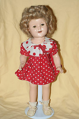 "Vintage 15"" Shirley Temple Composition Doll ""Baby Take A Bow"" Red Polka Dot"