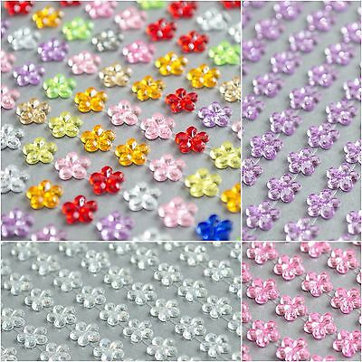 132x 6mm Daisy Flowers Self Adhesive Stickers Rhinestone StickOn Jewel Gem Craft