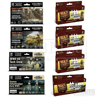 Vallejo WW2 Acrylic Paint Set Model Wargames British US German Soviet Infantry