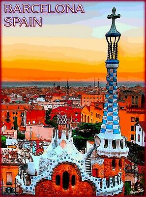 Barcelona Spain Spanish European Europe Vintage Travel Advertisement Poster 2