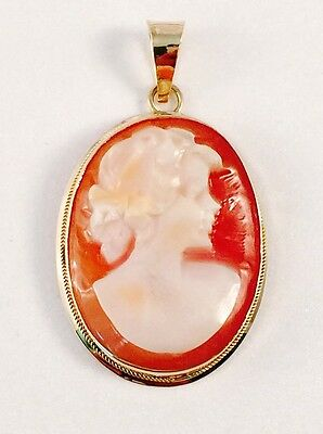 14k italian yellow gold oval cameo pendant vintage star hallmark 14k italian yellow gold oval cameo pendant vintage star hallmark aloadofball Image collections